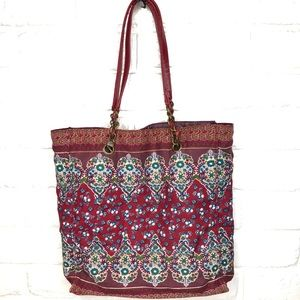 Cotton tote with faux leather handles & chains